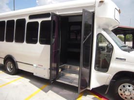 Austin White Party Bus Side View