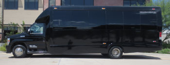 Austin Black Luxury Party Bus Side View