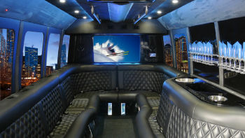 Austin Black Luxury Party Bus Interior