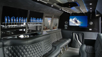 Austin Black Luxury Party Bus Interior 2