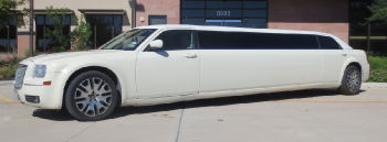 White Chrysler stretch limousine service Austin