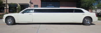 side white Chrysler stretch limousine service Austin