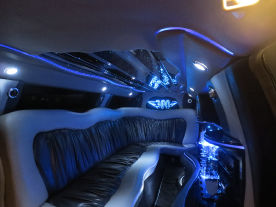 interior 2 White Chrysler stretch limousine service Austin